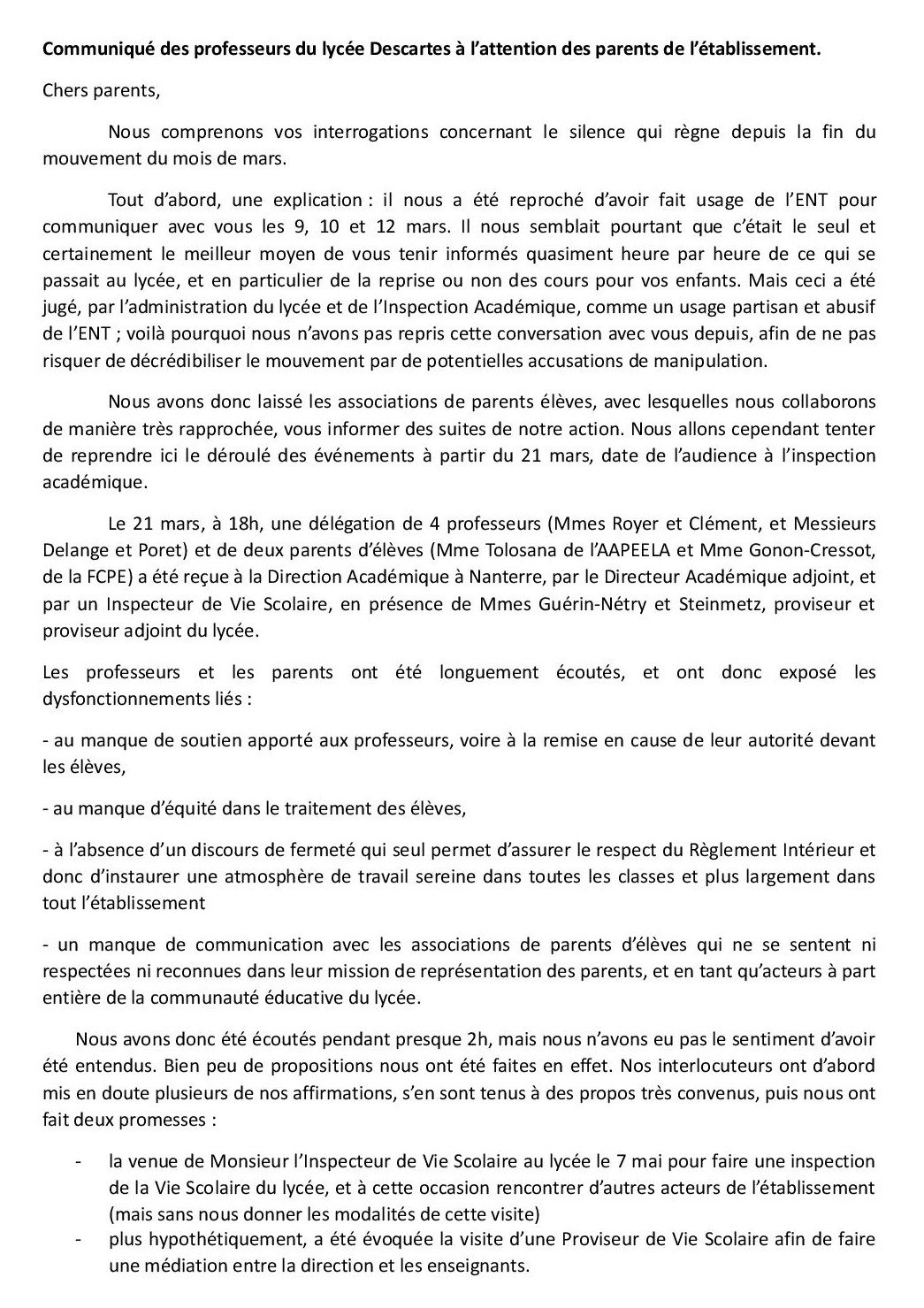 Communique des professeurs du lyce e descartes aux parents 31 mai page 2